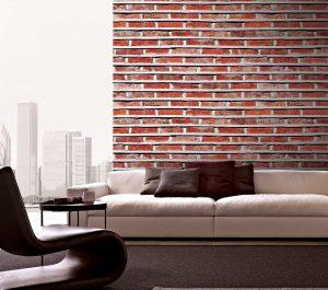 Giấy dán tường giả gạch trang trí phòng khách