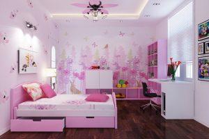 Giấy dán tường phòng ngủ cho bé gái